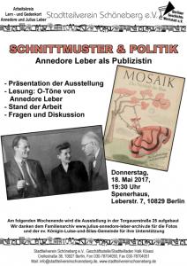 Plakat der Veranstaltung mit Fotos Annedore Leber, Willi Brandt und Titel von Mosaik
