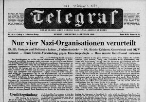 """Titelseite mit Titel """"Nur vier Nazi-Organisationen verurteilt"""""""