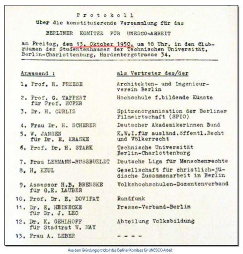 Protokoll über die konstituierende Versammlung für das Berliner Komitee für UNESCO-Arbeit vom 13. Okotber 1950. Anwsend u.a. Frau A Leber