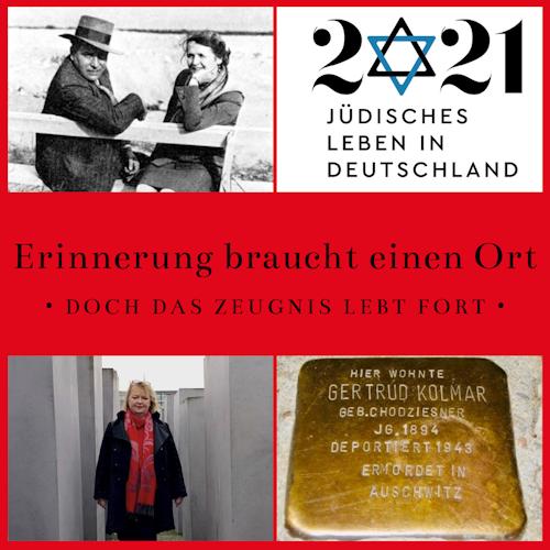 """Collage mit Bild von Annedore und Julius Leber, Mechthild Rawert, einem Stolperstein und dem Titel der Veranstaltung Erinnerung brucht einen Ort - Doch das Zeugnis lebt fort"""""""